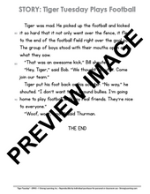 Diphthongs - 9 No Prep Lessons & Activities - Tiger Plays Football - Digital Download - 6055D