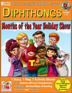 Diphthongs - 9 No Prep Lessons & Activities - Months of the Year Holidays - Digital Download - 6054D