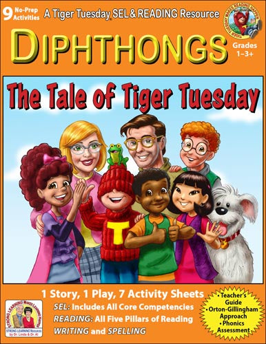 Diphthongs - 9 No Prep Lessons & Activities - Tale of Tiger Tuesday - Digital Download - 6057D