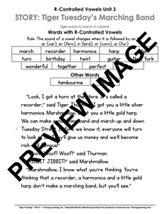 R-Controlled Vowels - 9 No Prep Lessons & Activities - Tiger's Marching Band - Digital Download - 6043D