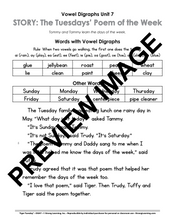 Vowel Digraphs - 9 No Prep Lessons & Activities - Tiger's Poem of the Week - Digital Download - 6037D