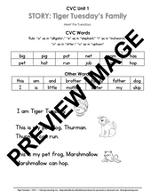 CVC - 9 No Prep Lessons & Activities - Tiger Tuesday's Family - Digital Download - 6011D