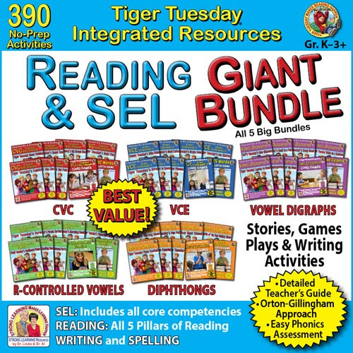 Phonics GIANT Bundle- 390 No Prep Lessons & Integrated SEL - A223D