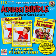 Alphabet & Consonants Bundle -Tiger Tuesday Reading Program Units 1 & 2-Distance Learning - A229D
