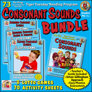 Consonant Bundle - Tiger Tuesday Reading Program Unit 2 - Distance Learning - A228D