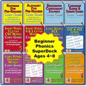 Beginning Phonics SuperDeck 12-Pack - Ages 4-8 - A612S