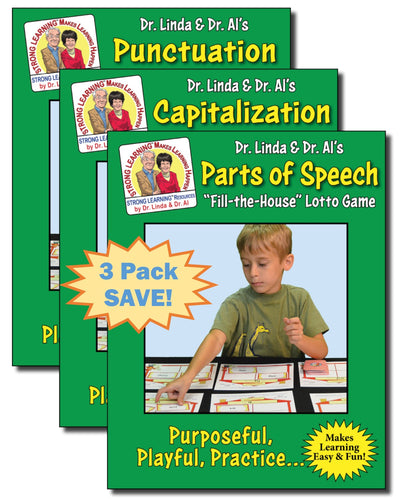 Grammar Bundle - Fill the House Lotto Learning Activity - 3 Pack - Capitalization, Punctuation and Parts of Speech - Digital Download
