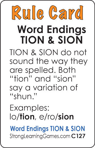 """Word Endings """"TION"""" & """"SION"""" (Ages 8-11+) C127 – StrongLearningGames.com  div. of Strong Learning, Inc."""