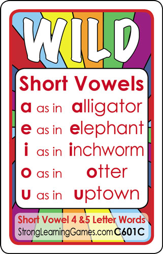 Short Vowel 4-5 Letter CVC Words (Ages 5-6+) C601C –  StrongLearningGames.com div. of Strong Learning, Inc.
