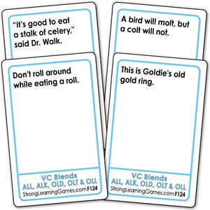 VC Blends ALL, ALK, OLD, OLT & OLL  Fluency Deck (Ages 8-11+) F124