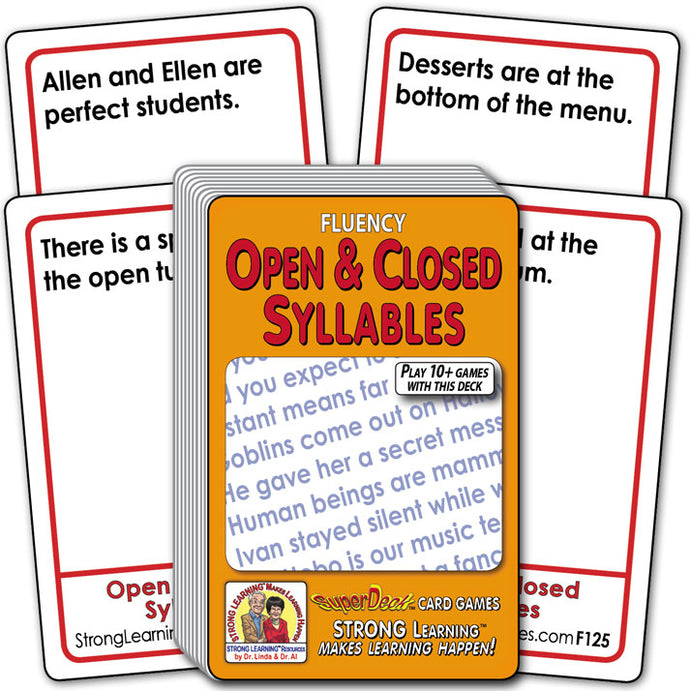Open and Closed Syllables  Fluency Deck (Ages 8-11+) F125