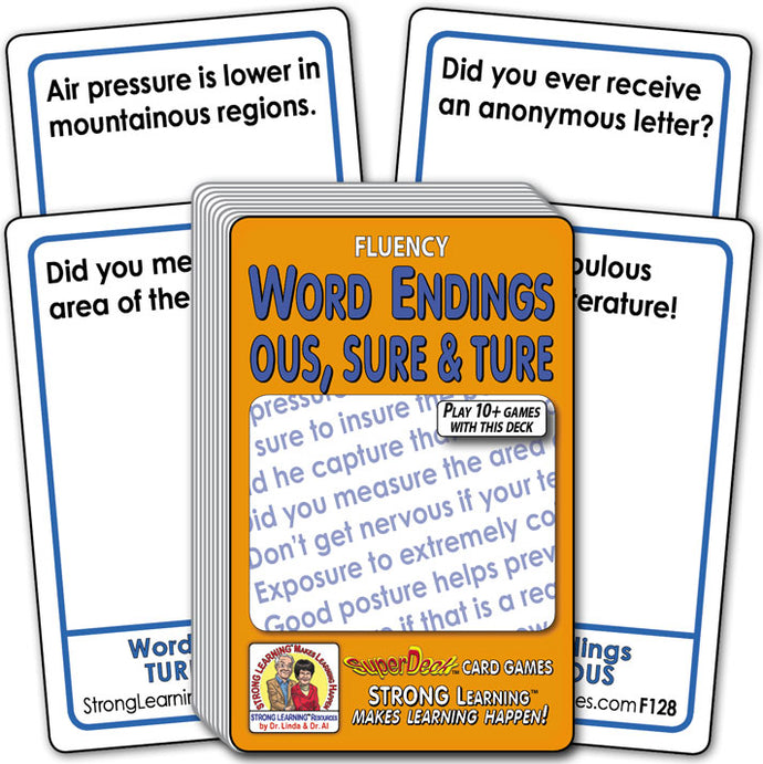 Word Endings OUS, SURE & TURE Fluency Deck (Ages 8-11+) F128