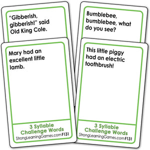 3 Syllable Challenge Words Fluency Deck (Ages 8-11+) F131