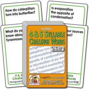 4 & 5 Syllable Challenge Words Fluency Deck (Ages 8-11+) F132