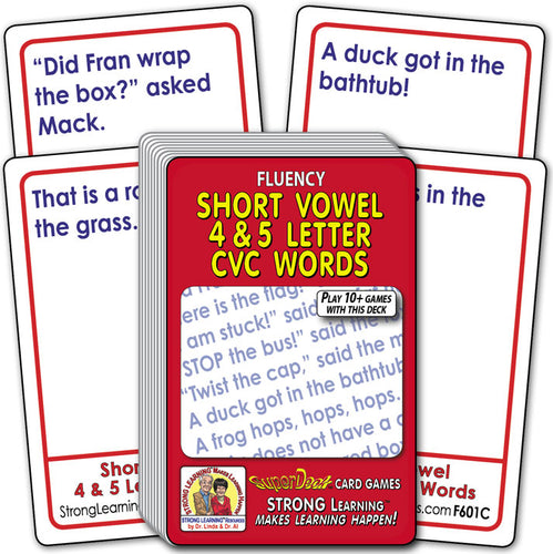 Short Vowel 4 & 5 Letter CVC Words  Fluency Deck (Ages 5-6+) F601C