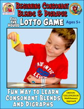 Consonant Blends and Digraphs - Fill-the-House Lotto Activity - Distance Learning-L600CD