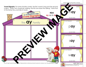 Vowel Digraphs - Lotto Learning Activity - Digital Download - L603D