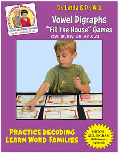 Vowel Digraph Mini (OW, IE, EA, UE, AY & AI) - Fill the House Lotto Learning Activity - Digital Download