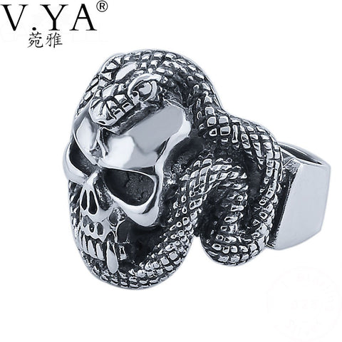 V.YA Skull Rings 925 Sterling Silver New Fashion Punk Snake Skeleton 100% S925 Solid Sterling Silver Ring for Women Men Jewelry