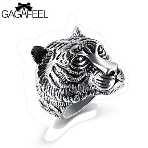 Gagafeel Stainless Steel Tiger Head Unique Animal Ring For Men Jewelry Punk Rock Style Sizes 7-12 Titanium Vintage Rings