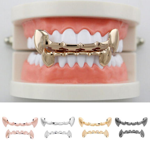 Hip Hop Gold Teeth Grills Top&Bottom Teeth Grillz Dental Vampire Teeth Caps Mouth Halloween Party Accesories 4 Colors Available