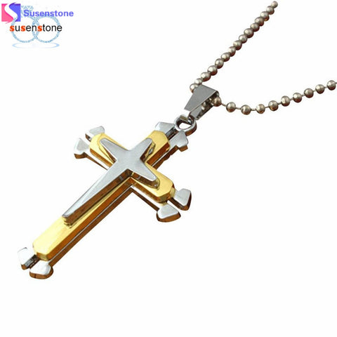 SUSENSTONE Unisex Men Stainless Steel Cross Pendant Necklace Chain