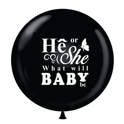 "36"" Black He or She Gender Reveal Balloon w/ Pink & Blue Ribbon - BumpReveal"