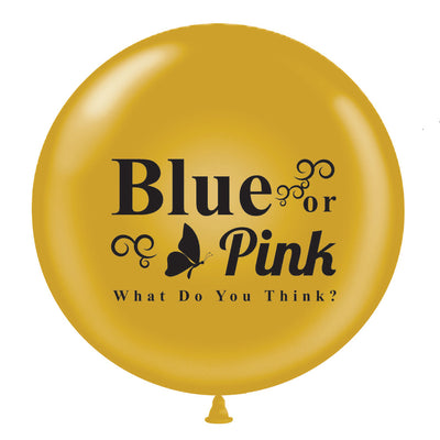 "36"" Gold Blue or Pink Gender Reveal Balloon w/ Blue & Pink Ribbon - BumpReveal"
