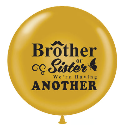 "36"" Gold Brother or Sister Gender Reveal Balloon w/ Pink & Blue Ribbon - BumpReveal"