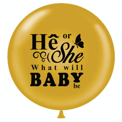 "36"" Gold He or She Gender Reveal Balloon w/ Pink & Blue Ribbon - BumpReveal"