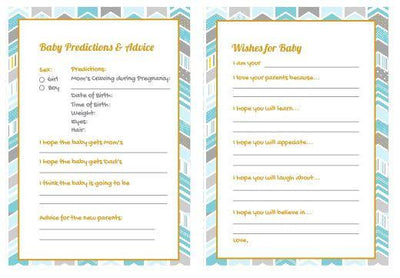 Blue Baby Shower Gender Reveal Prediction Card - BumpReveal
