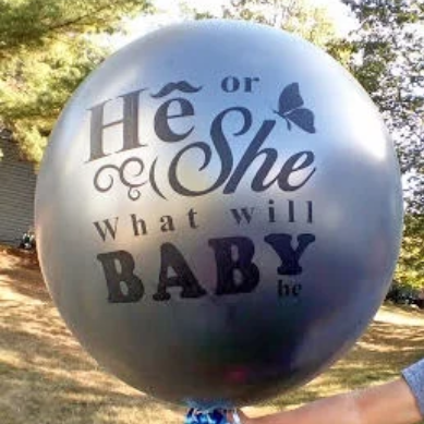 "Drone Gender Reveal - 36"" Silver He or She Gender Reveal Balloon w/ Pink & Blue Ribbon"
