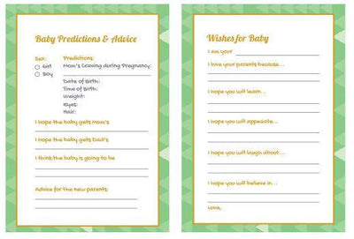 Green Baby Shower Gender Reveal Prediction Card - BumpReveal