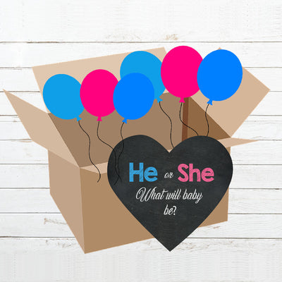 He or She Gender Reveal Box Reveal Kit - BumpReveal