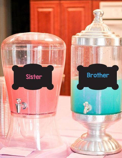 Sister Or Brother Chalkboard Style Gender Reveal Drink Labels - BumpReveal