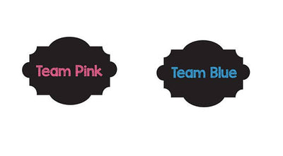 Team Pink Team Blue Chalkboard Style Gender Reveal Drink Labels - BumpReveal