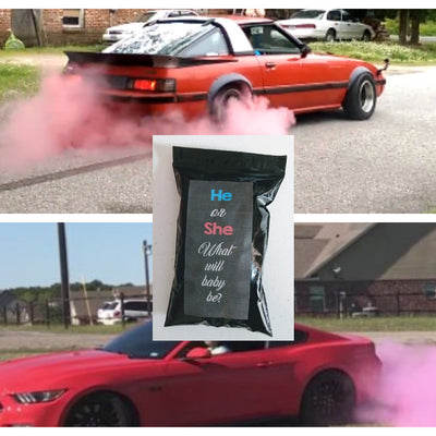 Gender Reveal Car Tire Burnout Kit - He or She Black