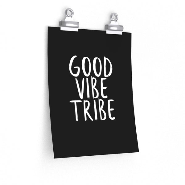 "Black Background with White Writing ""Good Vibe Tribe"" perfect for the interior of your camper, airstream, boler, teardrop, vintage camper."