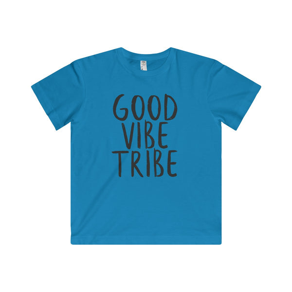 "Blue Shirt with the words ""Good Vibe Tribe"" are written in Black on Super soft fine jersey fabric compliments that playful innocence of this longer-length youth style tee.  Perfect gift for the adventurous kid."