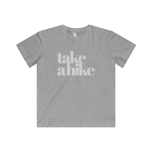 """Take a Hike"" is written in white on this Grey T Shirt for Kids.  Super soft fine jersey fabric compliments that playful innocence of this longer-length youth style tee. High quality print makes it instantly loved by all who wear it."