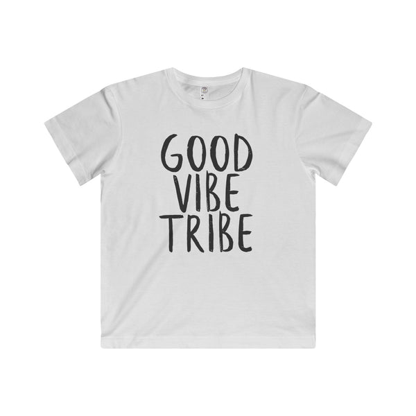 "The words ""Good Vibe Tribe"" are written in Black on Super soft fine jersey fabric compliments that playful innocence of this longer-length youth style tee.  Perfect gift for the adventurous kid."