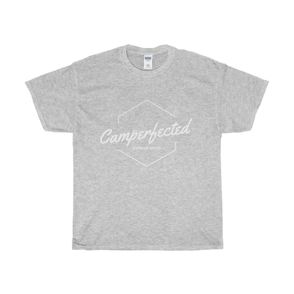 T Shirt for camping in grey.  Perfect if you own an airstream, boler, teardrop, little guy, shasta or other vintage trailer.