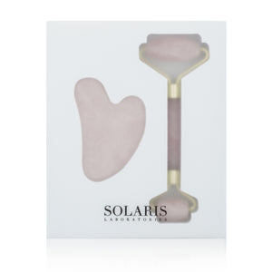 Rose Quartz Dermal Roller + Gua Sha Set
