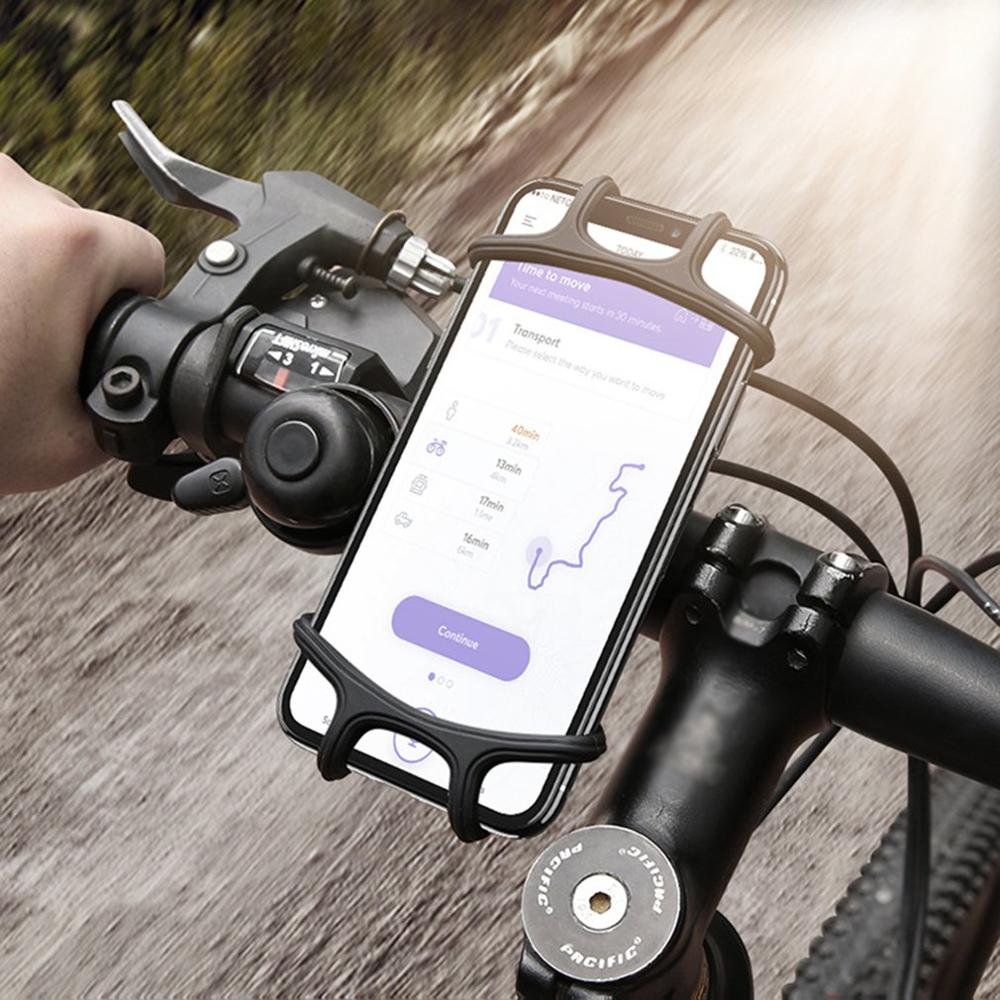 Bike Phone Bracket Bicycle Handlebar Phone Holder Silicone Mount Universal Bicycle Mobile Phone Bracket