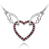 CZ Diamond heart pendant with wings!
