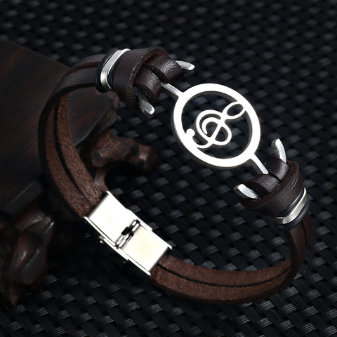 Musical Note Genuine Leather Bracelet