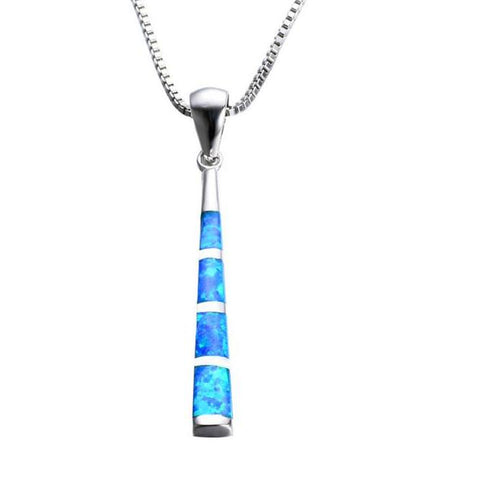blue opal baseball bat pendant