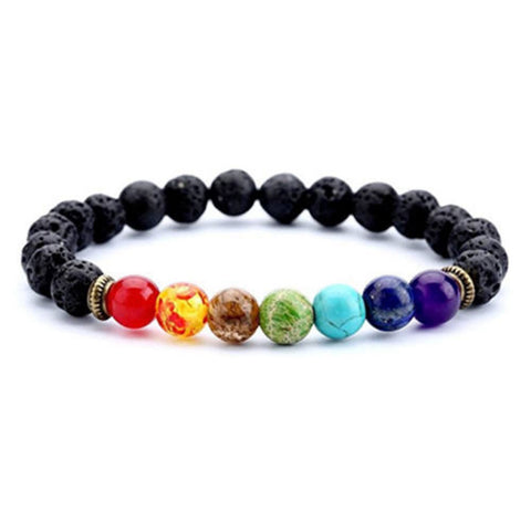 Healing Beads Bracelet with Natural Lava Stone