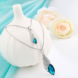 Blue crystal double pendant necklace