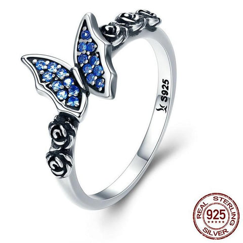 Sterling Silver Blue CZ Diamond Butterfly & Flower Ring 🦋🦋